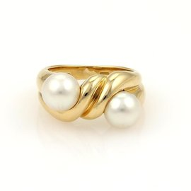 Bulgari 18k Yellow Gold & Pearl Twisted Design Band Ring
