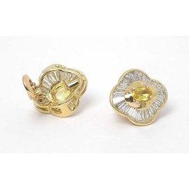 Bvlgari 18k Y/Gold 5.30ctw Diamond & Yellow Sapphire Stud Earrings