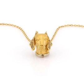 Carrera y Carrera 18k Y/Gold & Diamond Doberman Pinscher Dog Head Necklace