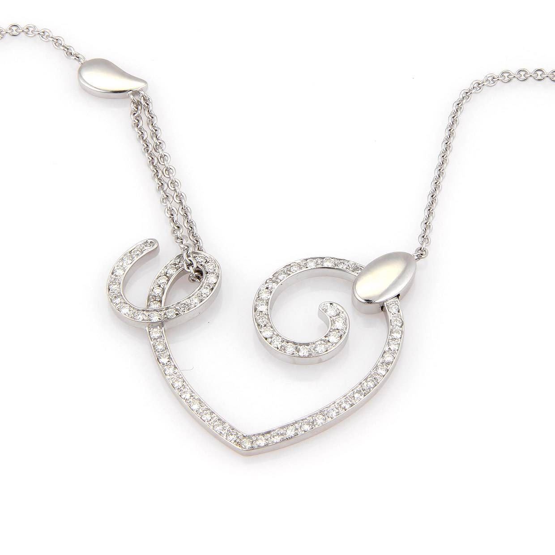 """Image of """"La Nouvelle Bague 18K White Gold Diamond Open Heart Necklace"""""""