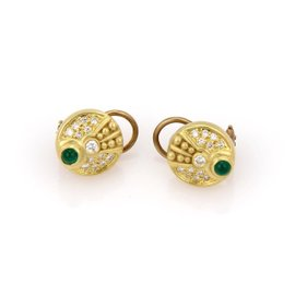 Judith Ripka 18K Yellow Gold Diamond & Emerald Cabochon Disc Earrings