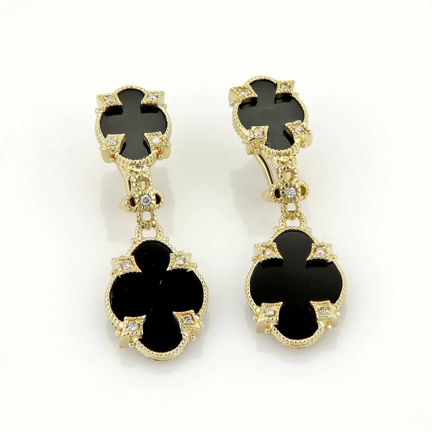 "Image of ""Judith Ripka 14K Yellow Gold Diamonds & Onyx Fancy Drop Dangle"""