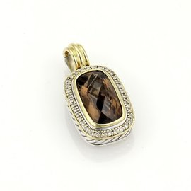David Yurman 925 Silver 18K Yellow Gold Diamonds & Smokey Topaz Pendant