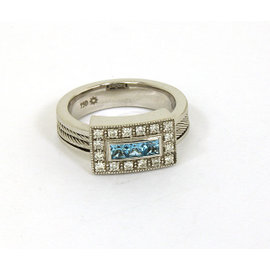 Philippe Charriol 18K White Gold Diamonds & Blue Topaz Band Ring