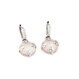 Judith Ripka White Gold Rock Crystal & Diamond Earrings