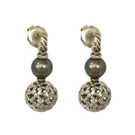 David Yurman Sterling Silver Diamond & Tahitia Pearl Dangle Earrings