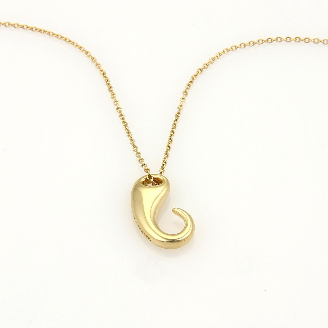 "Image of ""Tiffany & Co. Elsa Peretti 18K YG Fancy Hook Design Pendant Necklace"""