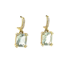 Judith Ripka Prasiolite & Diamonds Drop Dangle Earrings