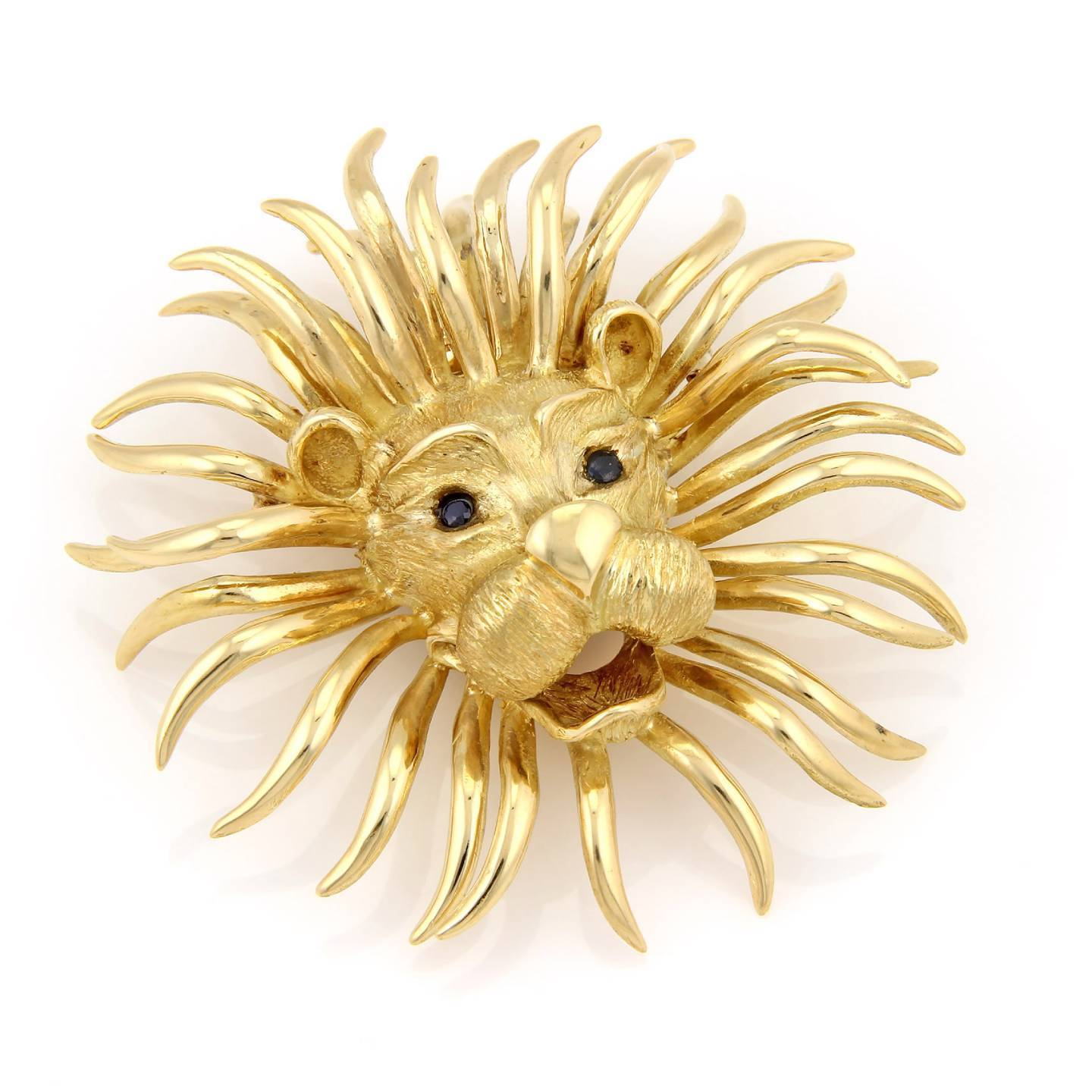 """Image of """"18K Yellow Gold Large Lion Head Sapphire Pin / Brooch Pendant"""""""