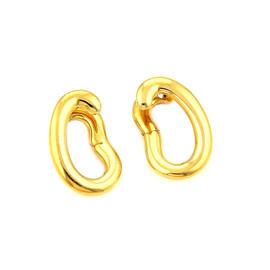 Pomellato 18k Yellow Gold Curved Oval Hoop Stud Earrings
