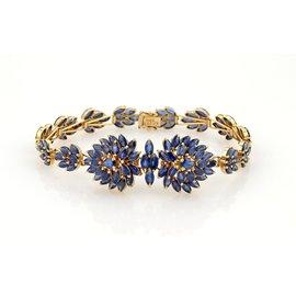 14K Gold Floral 13ct Marquise Shape Sapphires Bracelet