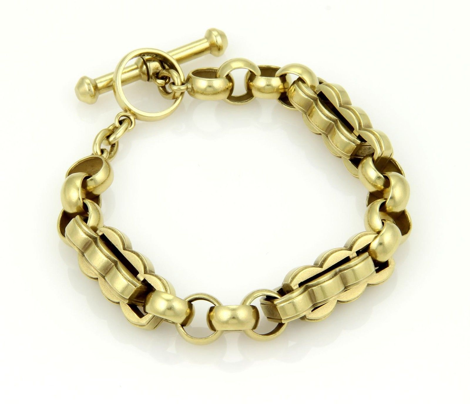 """Image of """"Kieselstein Cord 18k Gold Unique Double Curve Long Link Toggle"""""""