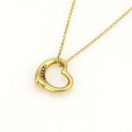 Tiffany & Co. Elsa Peretti 18k Yellow Gold Diamonds Open Heart Pendant Necklace