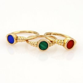 Kaiyin 14K Rose Gold Lapis Malachite & Chalcedony Triple Stack Band Ring
