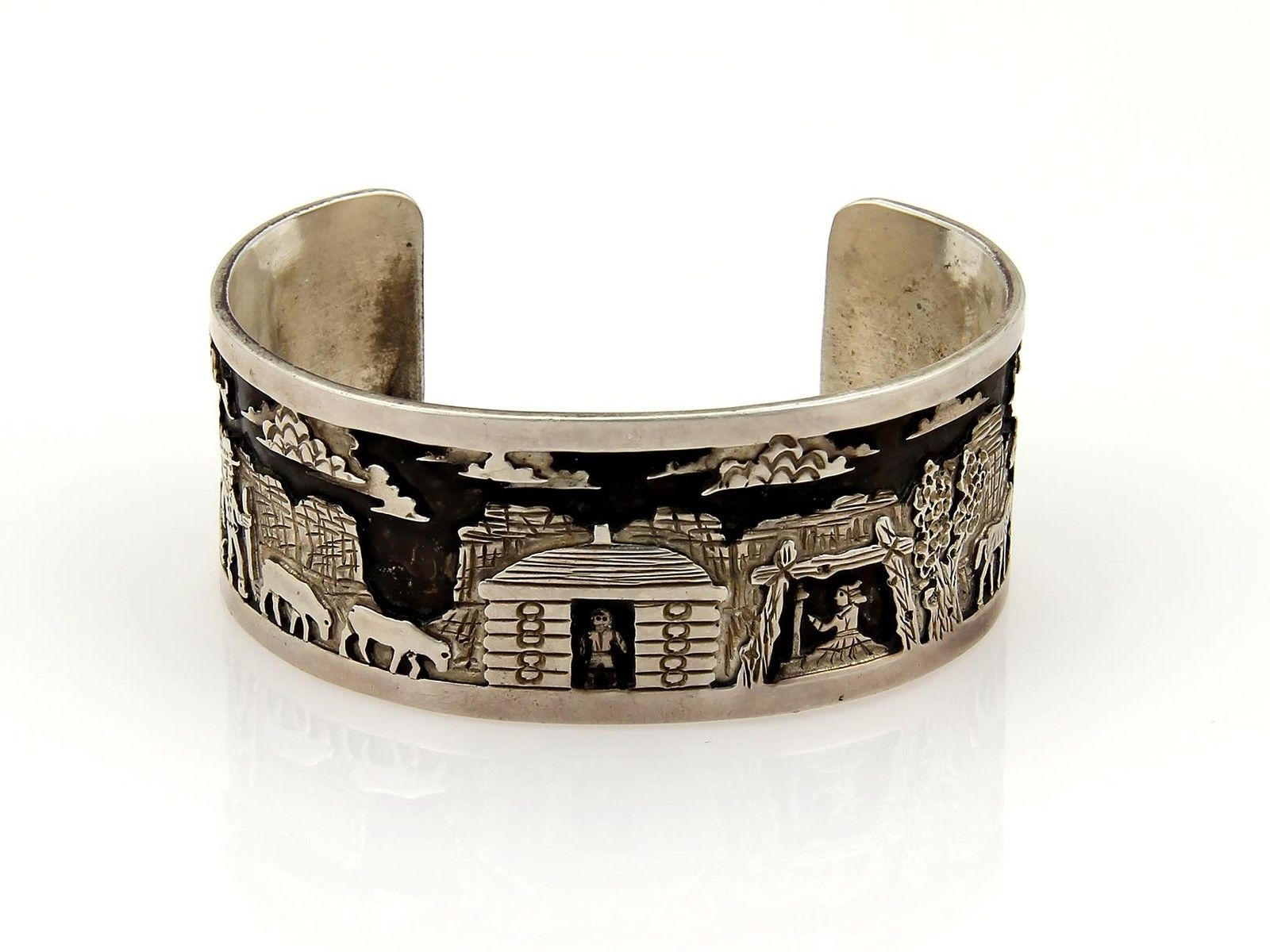 """""Native Indian CH Sterling Silver Carved Village Scene Cuff Bracelet"""""" 199723"