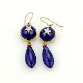 9K Two Tone Gold Lapis Star Design Drop Dangle Earrings
