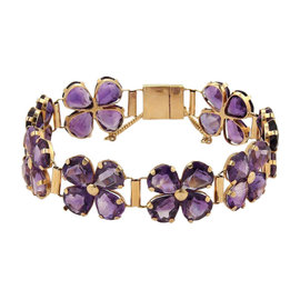Vintage 50ct Pear Shape Amethyst 18k Rose Gold Floral Link Bracelet