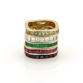 18K Yellow Gold Diamond & Multi Color Gemstone 5 Band Stackable Ring Set