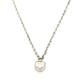 Chopard Happy Diamond 18k White Gold Mini Heart Pendant & Chain Necklace