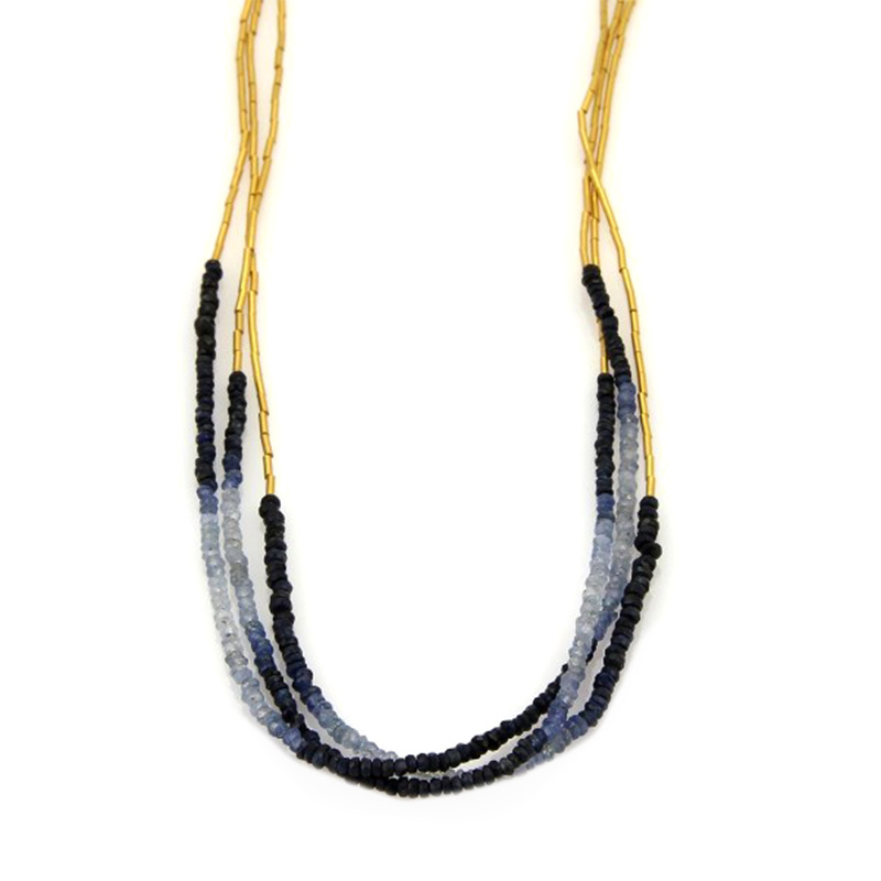 "Image of ""24K Yellow Gold Multi-Strand Beaded Sapphires Long Tassel Necklace"""
