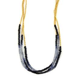 24K Yellow Gold Multi-Strand Beaded Sapphires Long Tassel Necklace