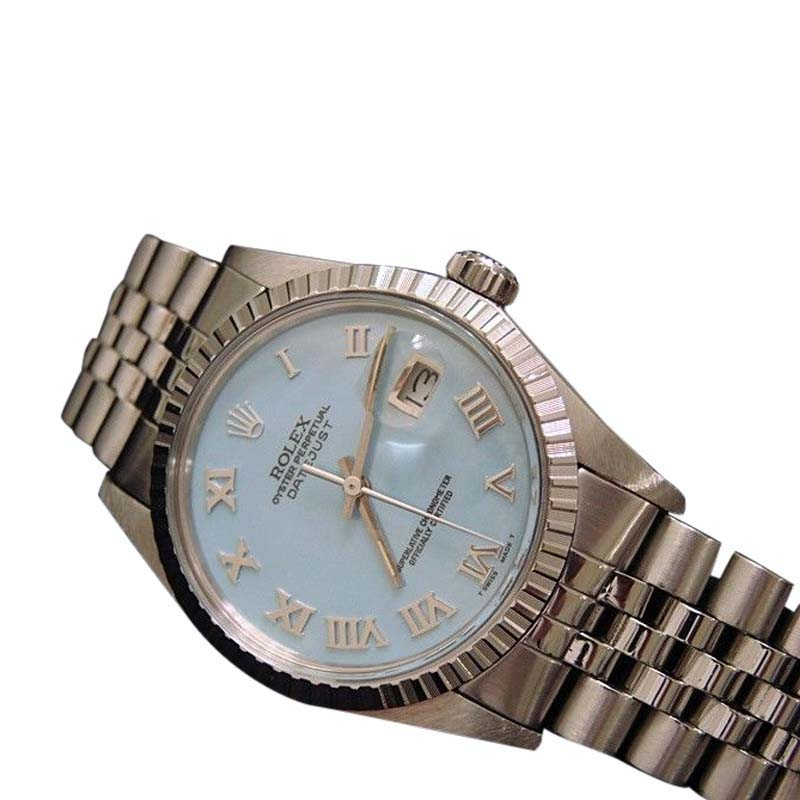 "Image of ""Rolex Datejust 16030 Stainless Steel w/Blue MOP Roman Dial & Jubilee"""