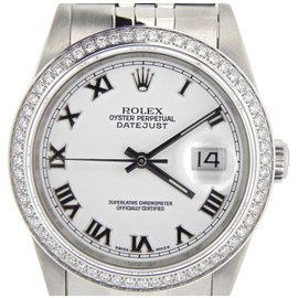 Rolex Datejust 16220 Stainless Steel w/White Roman Dial & 1 Ct Diamond Bezel Men Watch