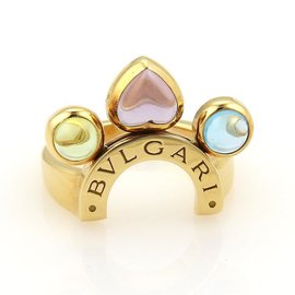 Bulgari Allegra Amethyst Peridot & Blue Topaz 18k Yellow Gold Ring