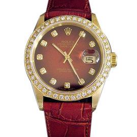 Rolex Solid 18K Yellow Gold Datejust Red/Burgundy 1.50ct Diamond 16018 Watch