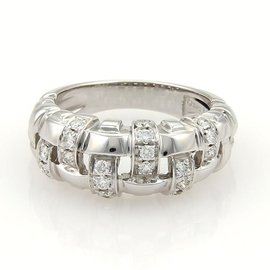 Tiffany & Co. 18K White Gold Gold Diamonds Basket Weave Band Ring