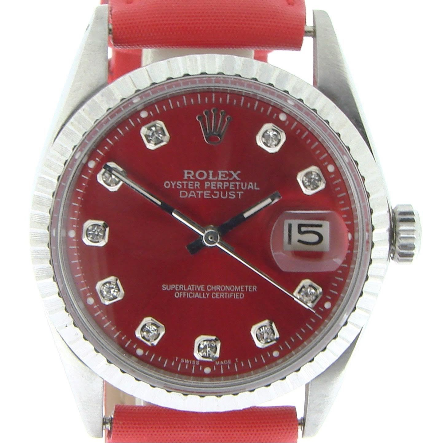 "Image of ""Rolex 1603 Stainless Steel Datejust w/Red Diamond Mens Watch"""
