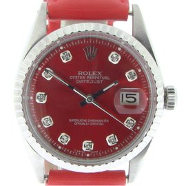 Rolex 1603 Stainless Steel Datejust w/Red Diamond Mens Watch