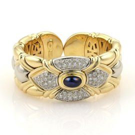 18K Two Tone Diamonds & Sapphire Hearts Cuff Bracelet