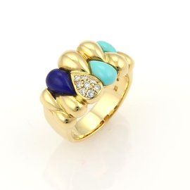 Massio 18K Yellow Gold Diamond Turquoise & Lapis Pear Shape Band Ring