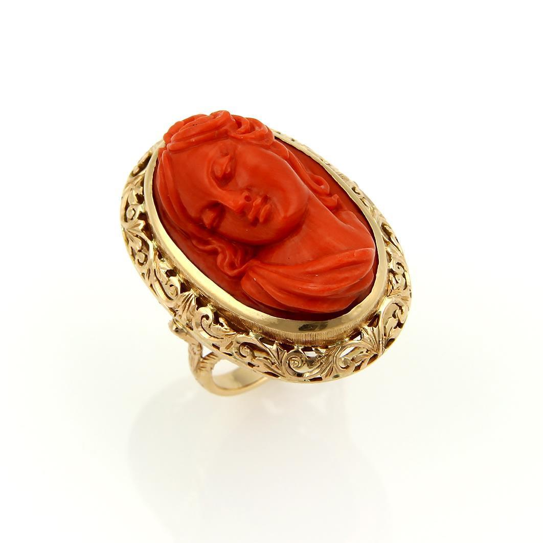 """Image of """"18K Yellow Gold & Deep Carved Coral Cameo Woman Oval Ring"""""""