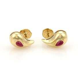 Chopard 18K Yellow Gold Cabochon Rubies & Curved Pear Shape Stud Earrings