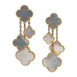 Van Cleef & Arpels 18K Gold and Mother Of Pearl Magic Alhambra 4 Motif Earrings