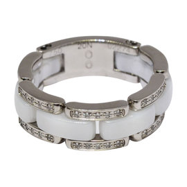 Chanel 18K White Gold Diamond and Ceramic Ring Size 10