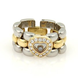 Chopard 18K Yellow Gold & Steel Happy Diamonds Heart Panther Link Ring