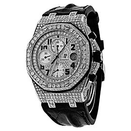 Audemars Piguet Royal Oak Offshore Chronograph Diamonds Watch on Leather Strap Watch
