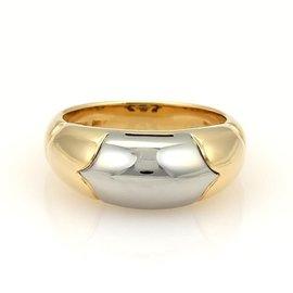 Bulgari 18K Yellow Gold & Stainless Steel Tronchetto Band Ring Size Medium