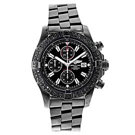 Breitling A13370 Super Avenger 3ct Black Genuine Diamonds Bezel Black Watch