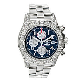 Breitling A13370 Super Avenger Blue Dial Diamond Mens Watch