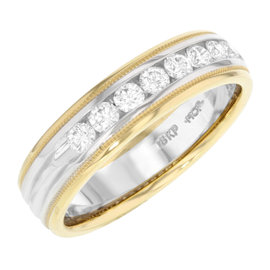 Hearts on Fire 18K Gold & Diamonds Milgrain Duets Band