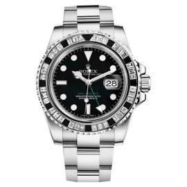 Rolex GMT Master II 116710LN Black Dial & Baguette Diamod Bezel Stainless Steel Watch
