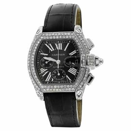 Cartier Roadster W62020X6 XL Chronograph Diamond Case Black Dial Strap Watch