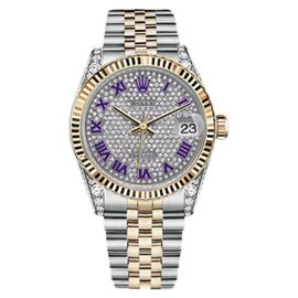 Rolex Datejust Pave Diamond Dial Stainless Steel And 18K Yellow Gold Purple Watch