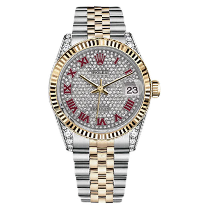 "Image of ""Rolex Datejust Pave Red Roman Diamond Dial Stainless Steel And 18K"""