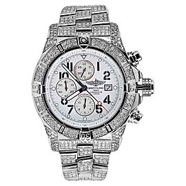 Breitling Super Avenger White Dial A13370 13ct Fully Covered Diamond Watch