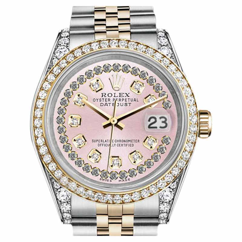 """Image of """"Rolex Datejust Steel And Gold Pink String Diamond Dial Ladies 26 mm"""""""